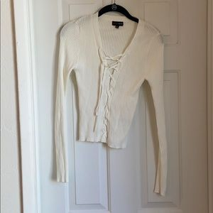 Ambiance Apparel White Lace Up Sweater